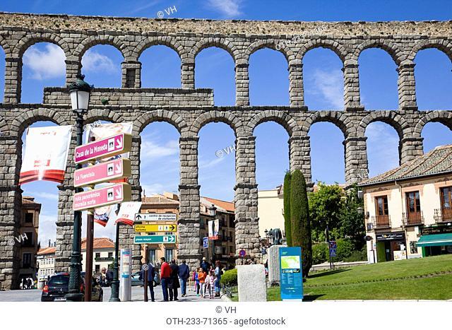 The Roman aqueduct, Segovia, Castile-Leon, Spain, Europe