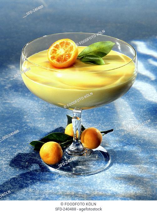 Orange cream mousse with kumquats