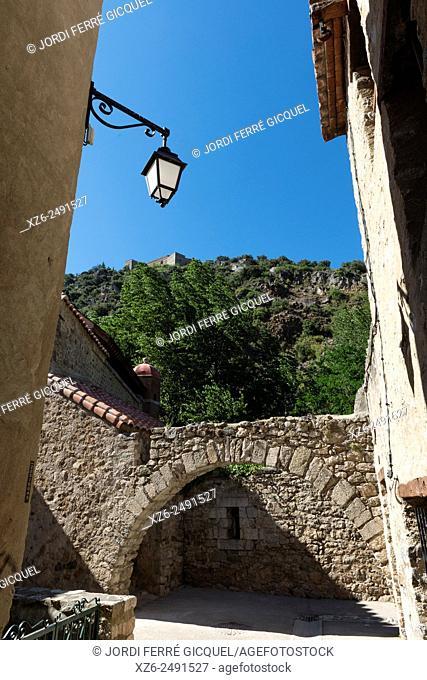 Medieval town of Villefranche-de-Conflent or Vilafranca de Conflent and Fort Libéria castle in the mountain, Conflent region, Pyrénées-Orientales department