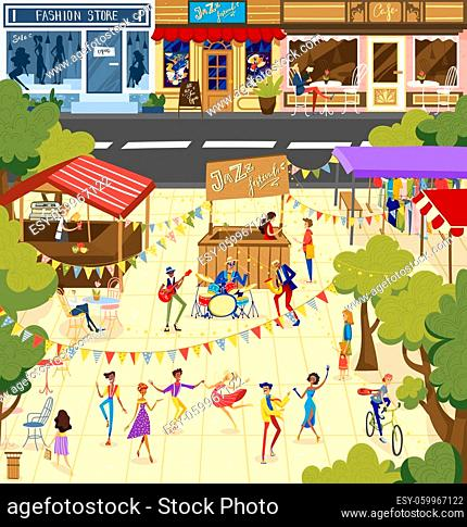 People on jazz festival vector illustration. Cartoon flat man woman dancer character dancing, performer musician band performing in outdoor city park