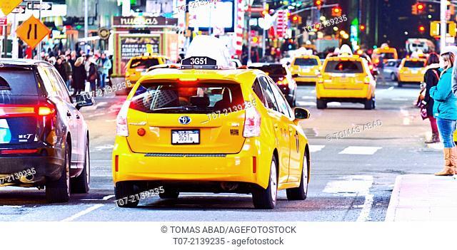 Rush hour traffic, Mass Transit, Broadway, 42nd Street Time Square, Midtown Manhattan, New York City, USA