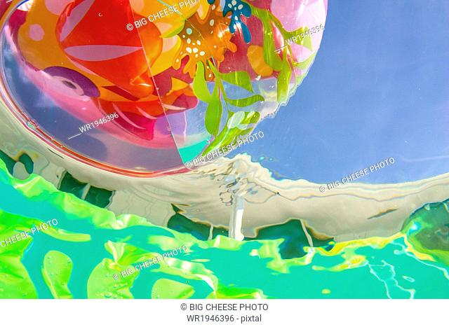 Underwater view of a beach ball in a pool