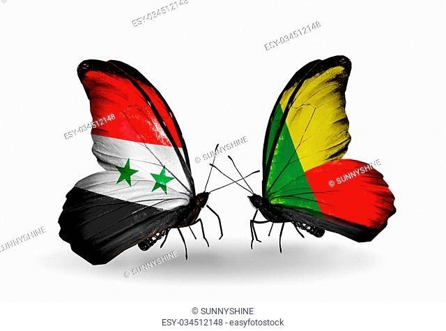 Two butterflies with flags on wings as symbol of relations Syria and Benin