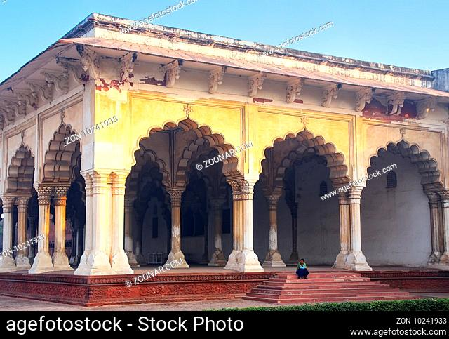 Diwan-i-Am - Hall of Public Audience in Agra Fort, Uttar Pradesh, India. The fort was built primarily as a military structure