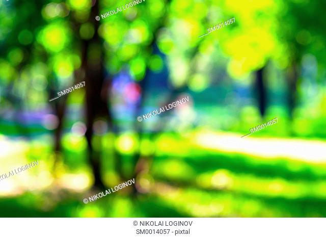 Horizontal vivid park bokeh background