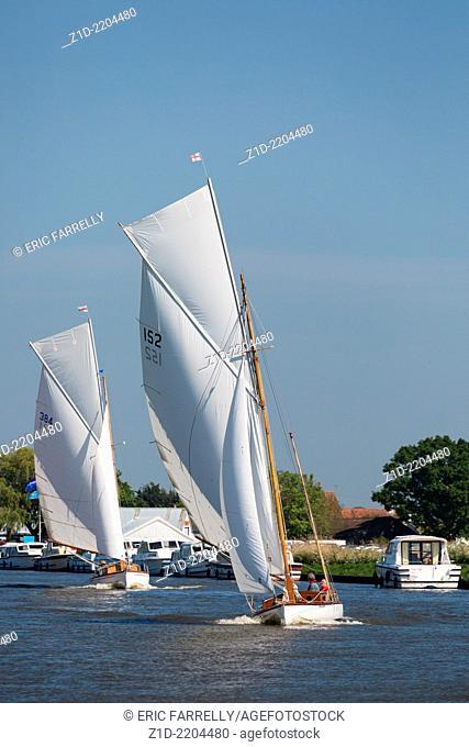 yachting regatta on the Norfolk Broads England UK