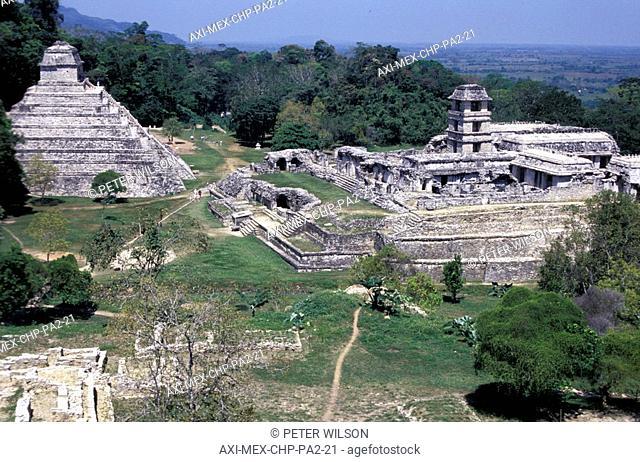 Palenque ancient ruins, elevated view, Chiapas, Mexico