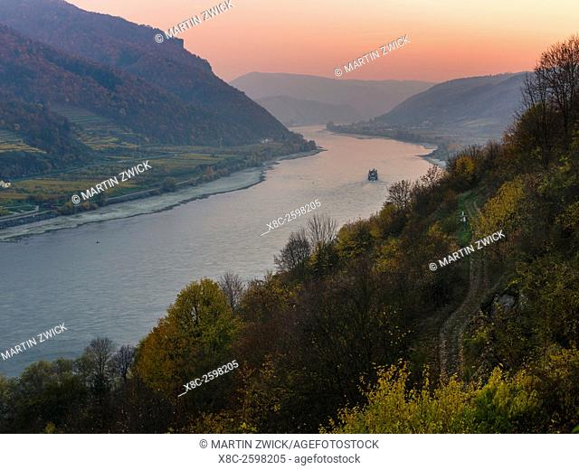 The Danube near Spitz flowing through the Wachau area. The Wachau is a famous vineyard and listed as Wachau Cultural Landscape as UNESCO World Heritage