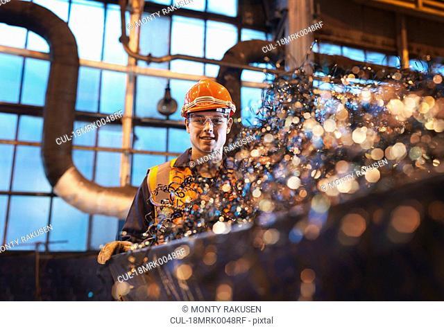 Apprentice Engineer With Swarf Waste