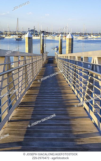 Ramp leading down to a boat dock. San Diego Harbor, San Diego, California, USA