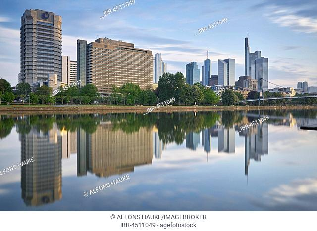 Financial district with Main, Frankfurt am Main, Hesse, Germany