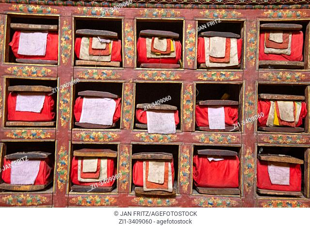 old holy books at library of old palace of Leh in Ladakh, India