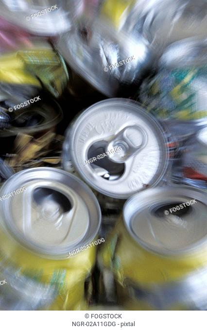 Piles of Cans to be Recycled