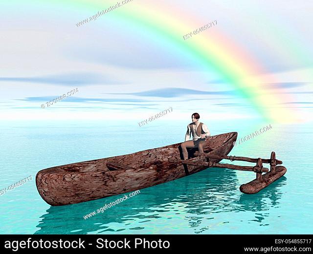 Einbaum auf dem Meer unter dem Regenbogen
