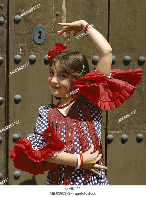 Spain, Andalusia, Jerez of de la Frontera, Fiera Del Caballo, girls, dress,  traditionally, gesture  Europe, Iberian peninsula, destination, sight, tradition