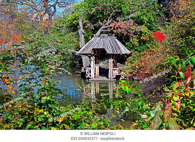 the hut on the pond during fall
