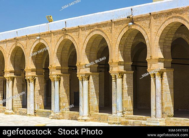 Portico with columns. Great Mosque of Kairouan or Mosque of Uqba. Kairouan, Tunisia, Africa