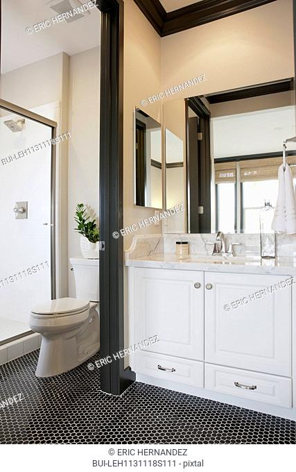 White cabinets and washbasin with commode in the bathroom at home; Irvine; California; USA