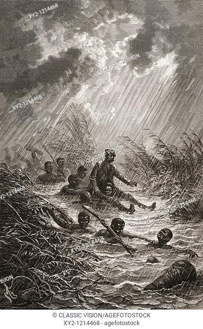 Dr  David Livingstone being carried through a swamp by porters during his expedition to Africa in 1872  David Livingstone