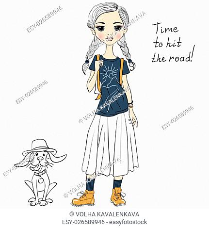 Lovely fashion girl traveler wih dog in sketch-style. T-shirt Graphics. Girl print