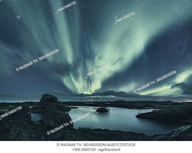 Aurora Borealis, Lake Myvatn, Iceland