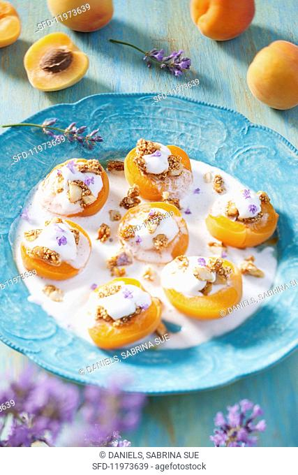 Baked apricot halves on lavender and coconut cream with crunchy quinoa