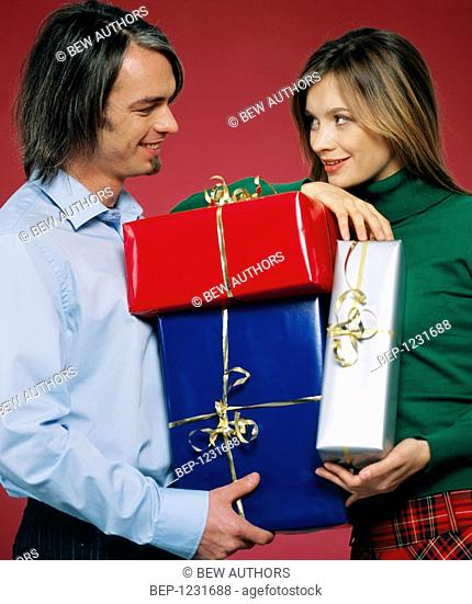 Couple with gifts
