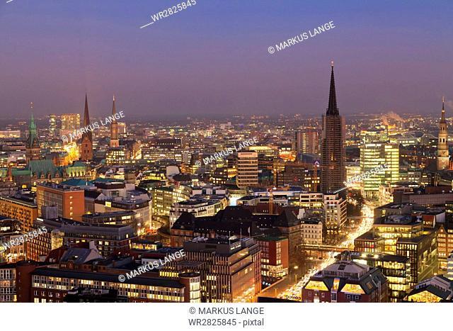 View over the city center at night, Hamburg, Hanseatic City, Germany, Europe