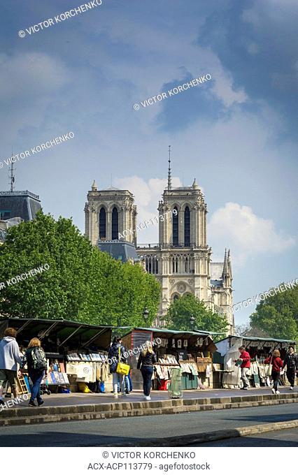 Booksellers kiosks on Seine embankment near Notre-Dame