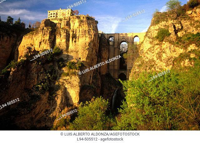 'Tajo' gorge and Puente Nuevo (new bridge), Ronda. Málaga province, Andalusia, Spain