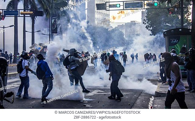 Caracas, Venezuela, on Saturday, May 20, 2017. Tens of thousands of people returned to the streets in what has been almost two months of street protests