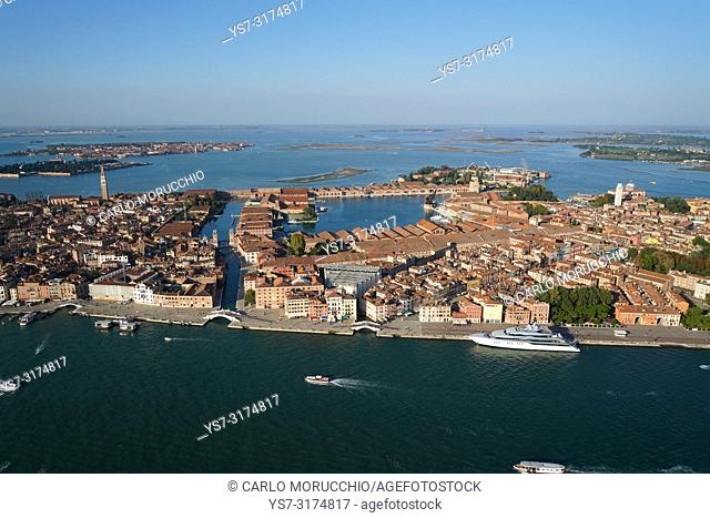 Aerial view of the Arsenale of Venice, Venice Lagoon, Italy, Europe