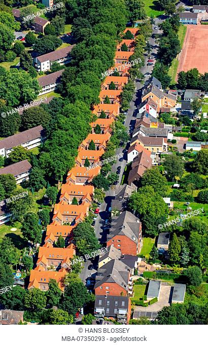 Miner's houses of the former coal mine Hugo, brick buildings for miners, rows of houses, red tile roofs, Gelsenkirchen, Ruhr area, North Rhine-Westphalia