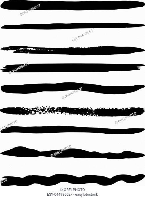 Set of nine vector brushes. Vector illustration