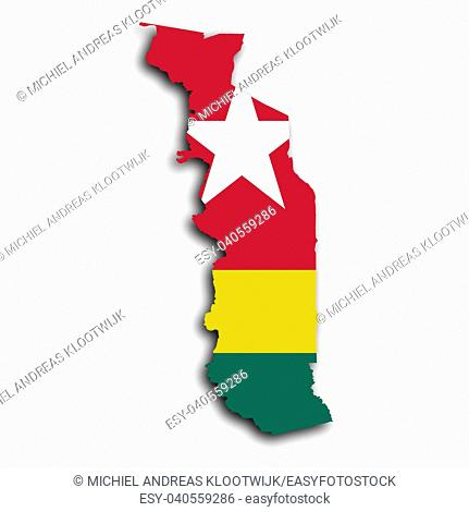 Togo map with the flag inside, isolated on white