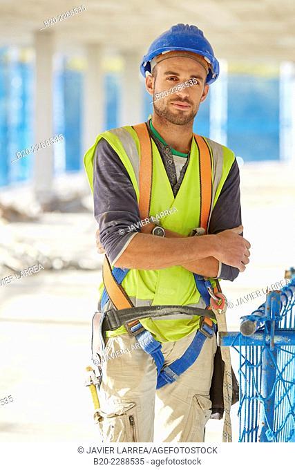 Construction Worker. Homebuilding. Donostia, San Sebastian, Basque Country, Spain