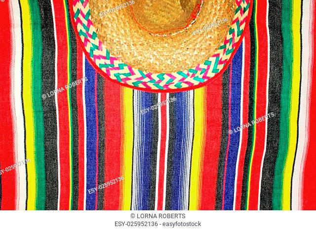 Mexico traditional cinco de mayo rug poncho fiesta with stripes and sombrero