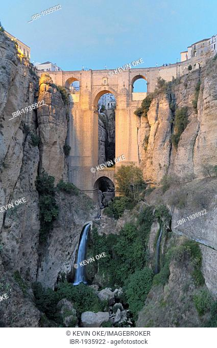 Guadalevín River and waterfall, Puente Nuevo, El Tajo Gorge, Ronda, Malaga Province, Andalusia, Spain, Europe