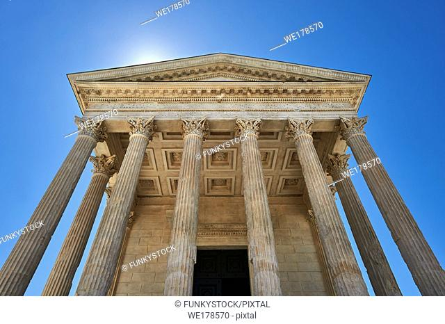 Facade of the Maison Carrée, a ancient Roman temple built around 4-7 AD and dedicated to Julius Caesar, the best preserved example of a Roman temple, Nimes