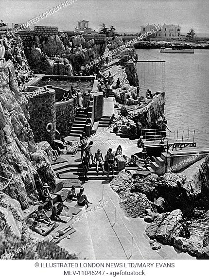 A view of the fashionable French Riviera destination, Eden Roc, where a bathing and sunbathing complex was fashioned out of the rocky coastal outcrop