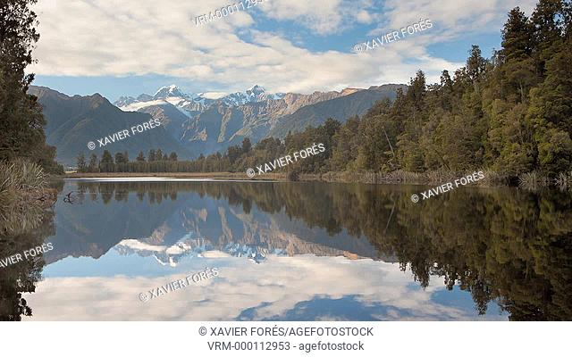 View of Mount Cook and Mount Tasman from Lake Matheson, Westland National Park, South Island, New Zealand