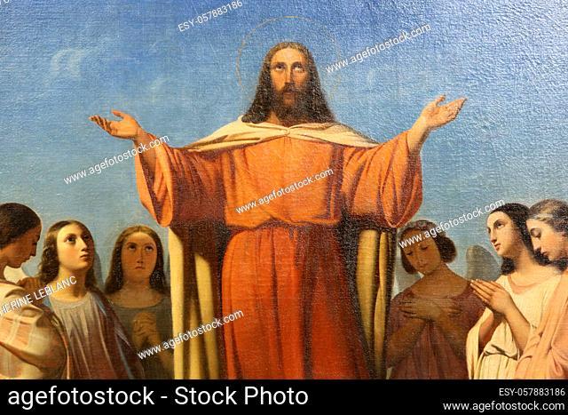 Jesus Christ. Painting. St. Nicholas and St. Mark Church. City of Avray. Haut-de-Seine. France. Europe