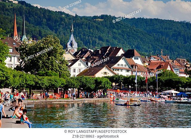 The lakeshore of Zug, Switzerland