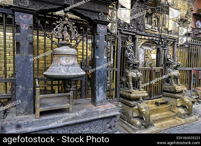 Patan, Nepal - October 2021: The Golden Temple is a Buddhist monastery founded in the 12th century in Patan on October 3, 2021 in Kathmandu Valley, Nepal