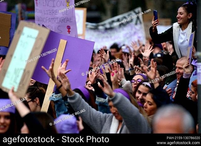 """Madrid Spain; 03/03 / 2020.- Thousands of people, mostly women, marched through the streets of downtown Madrid on the """"""""International Women's Day"""""""" with..."""