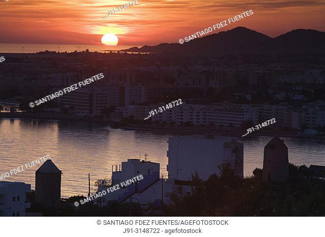 Sunset. Ibiza town, Balearic Islands, Spain