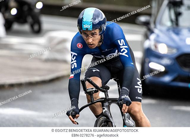 Michal Kwiatkowski at Zumarraga, at the first stage of Itzulia, Basque Country Tour. Cycling Time Trial race