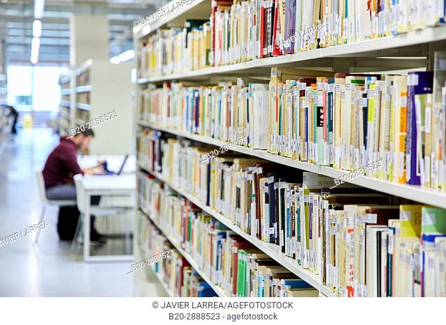 Study tables, Carlos Santa Maria Center, Gipuzkoa Campus Library, UPV, EHU, Basque Country University, Donostia, San Sebastian, Gipuzkoa, Spain, Europe