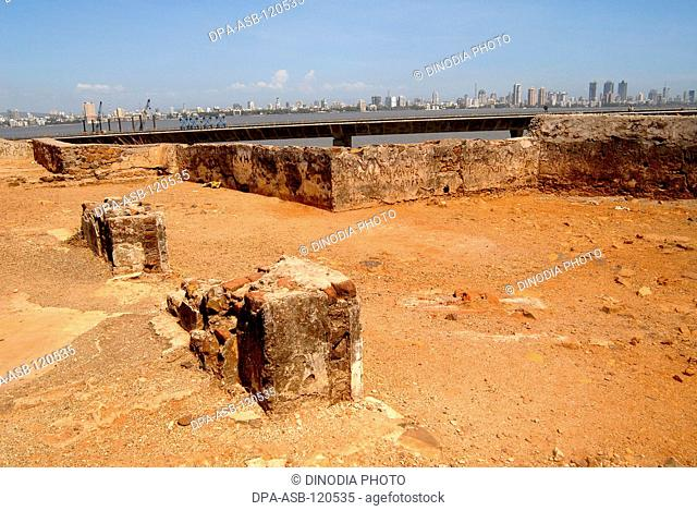 Bandra-Worli sea link under construction seen from Bandra fort in Bombay Mumbai; Maharashtra; India