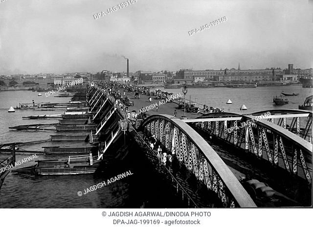 Vintage Photo of hooghly Bridge, Kolkata, West Bengal, Asia, India, 1910